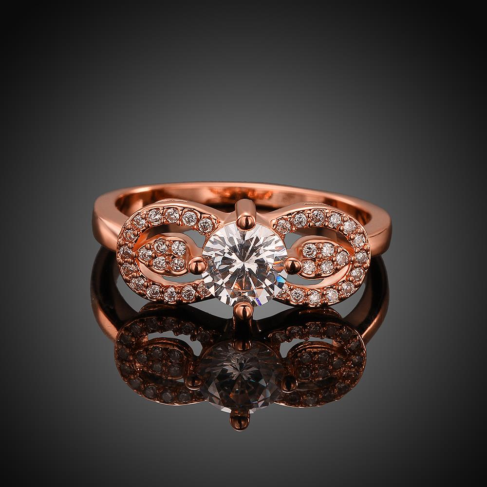 Wholesale Cute Rose Gold Letter White CZ Ring TGGPR820 4