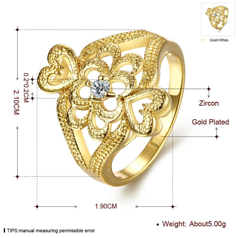 Wholesale Classic 24K Gold Heart White CZ Ring TGGPR1097 0