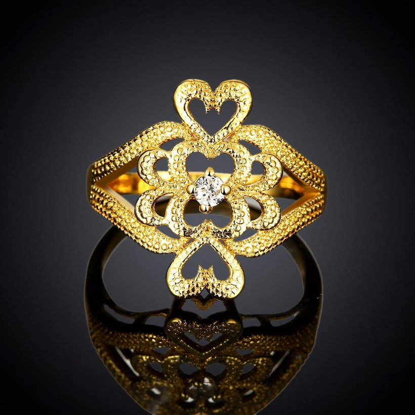 Wholesale Classic 24K Gold Heart White CZ Ring TGGPR1097 1