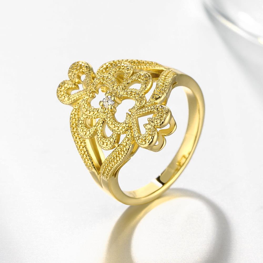Wholesale Classic 24K Gold Heart White CZ Ring TGGPR1097 2