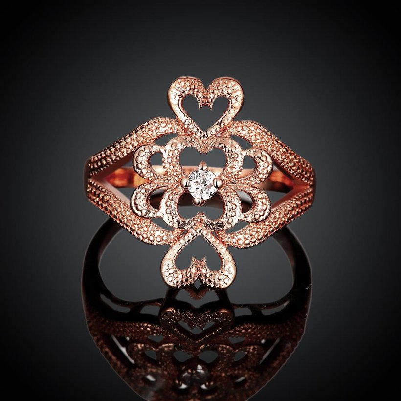 Wholesale Classic Rose Gold Heart White CZ Ring TGGPR1103 1