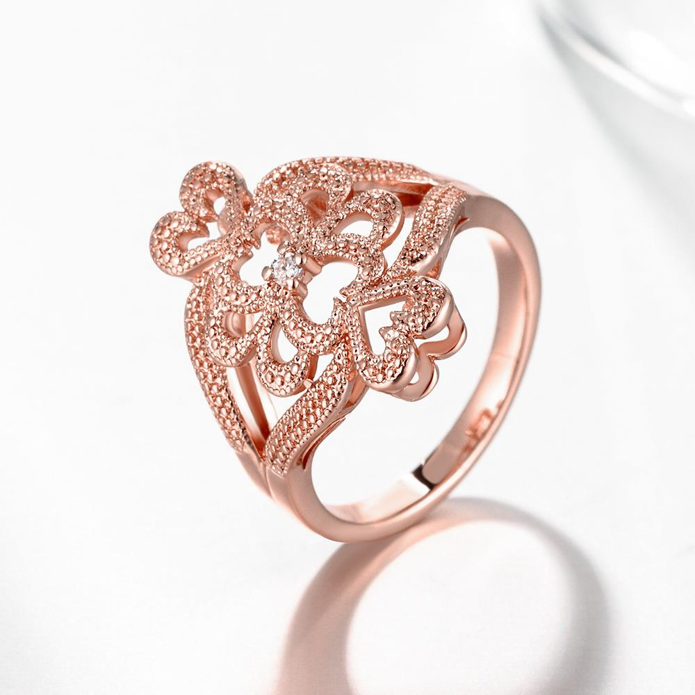 Wholesale Classic Rose Gold Heart White CZ Ring TGGPR1103 2
