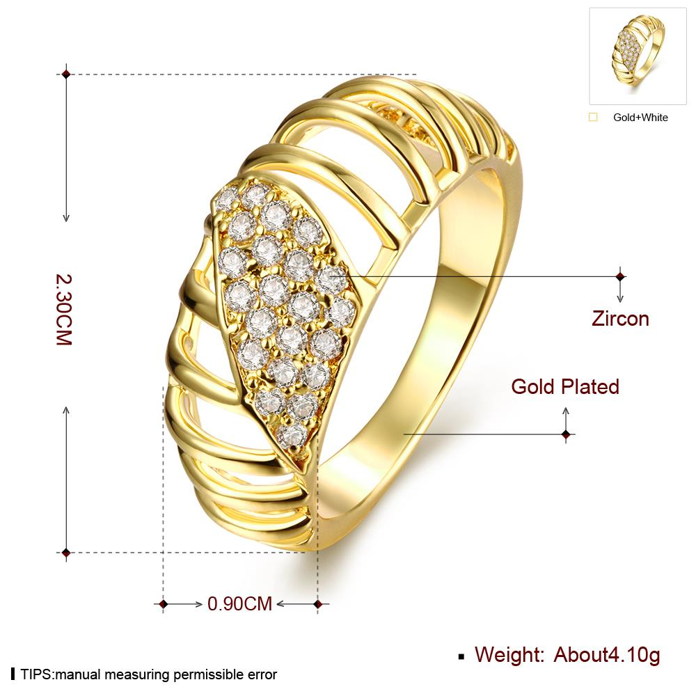 Wholesale Classic 24K Gold Round White CZ Ring TGGPR1124 0