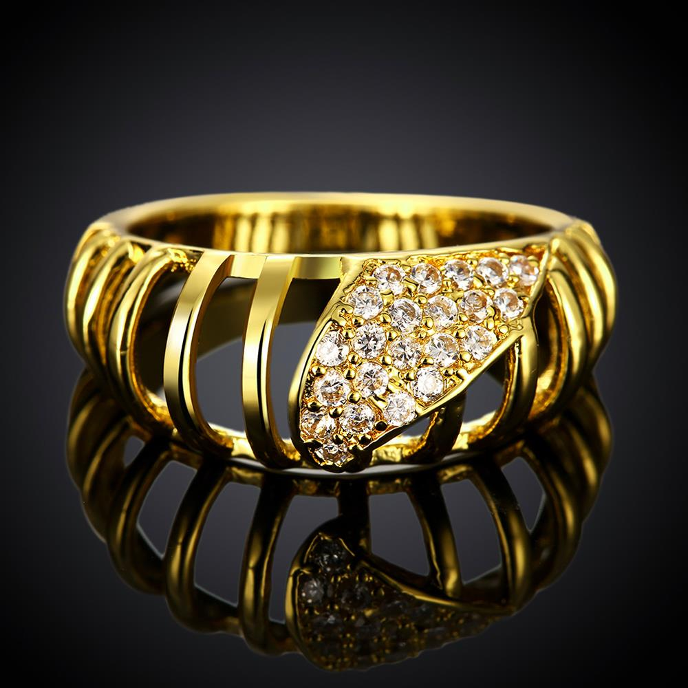 Wholesale Classic 24K Gold Round White CZ Ring TGGPR1124 1