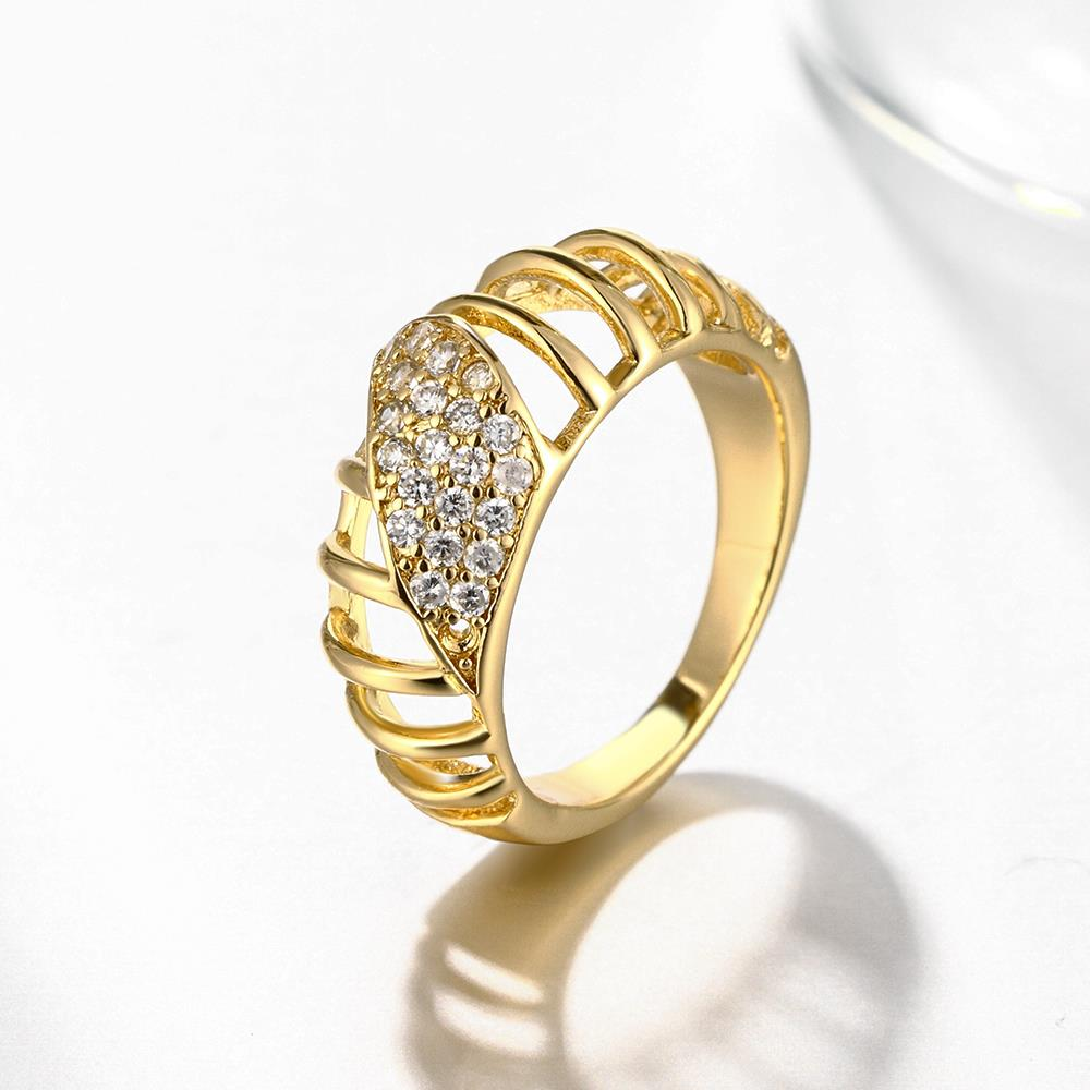 Wholesale Classic 24K Gold Round White CZ Ring TGGPR1124 2