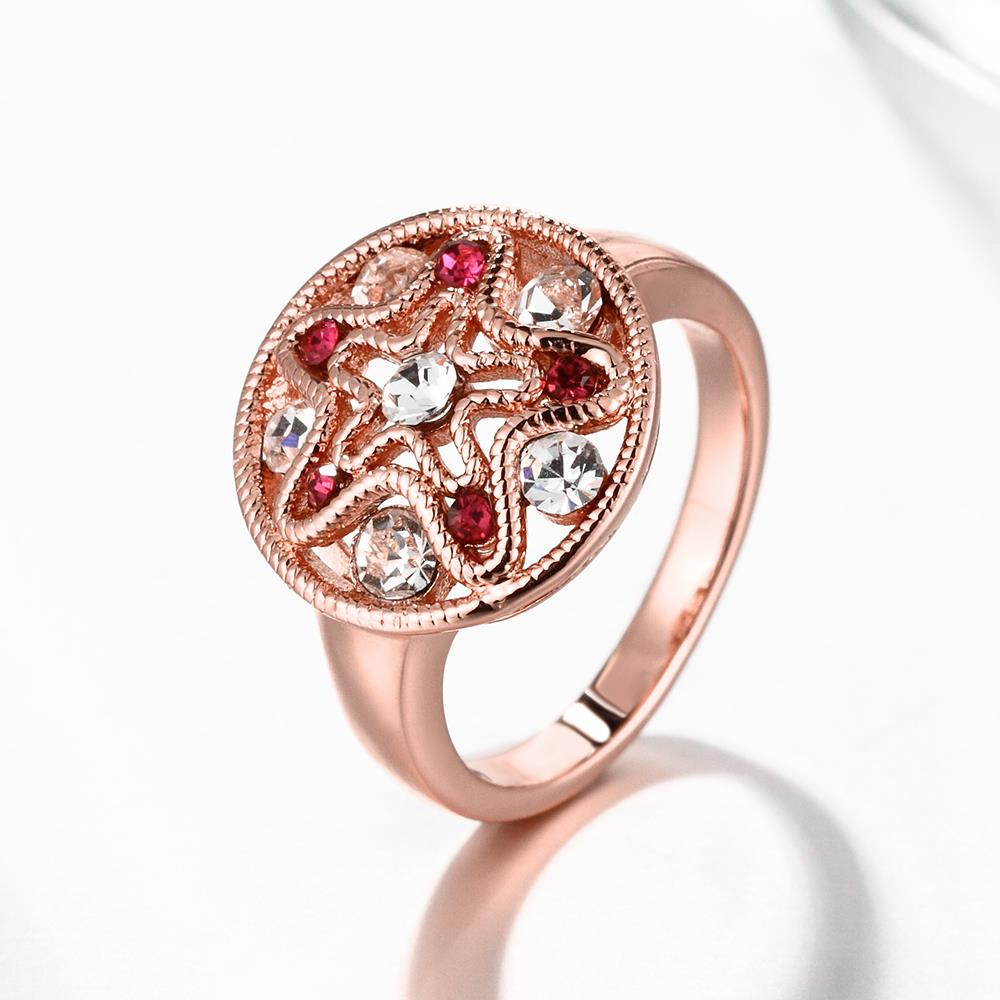 Wholesale Classic Rose Gold Star White Rhinestone Ring TGGPR1200 0