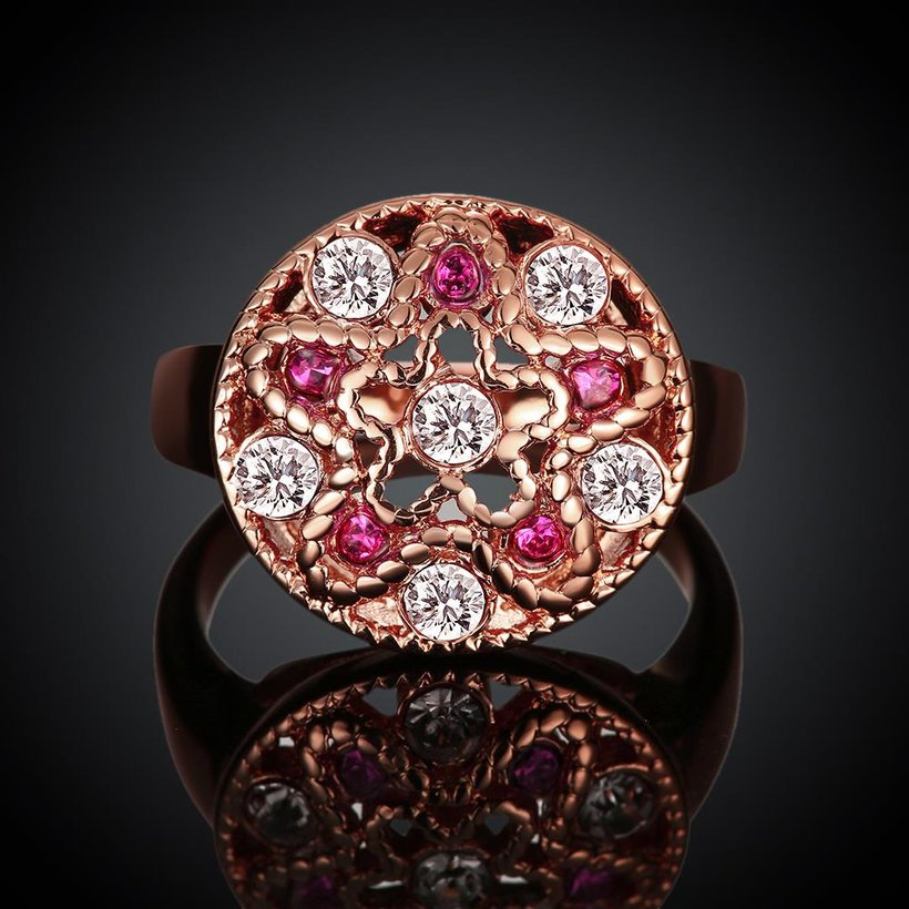 Wholesale Classic Rose Gold Star White Rhinestone Ring TGGPR1200 1