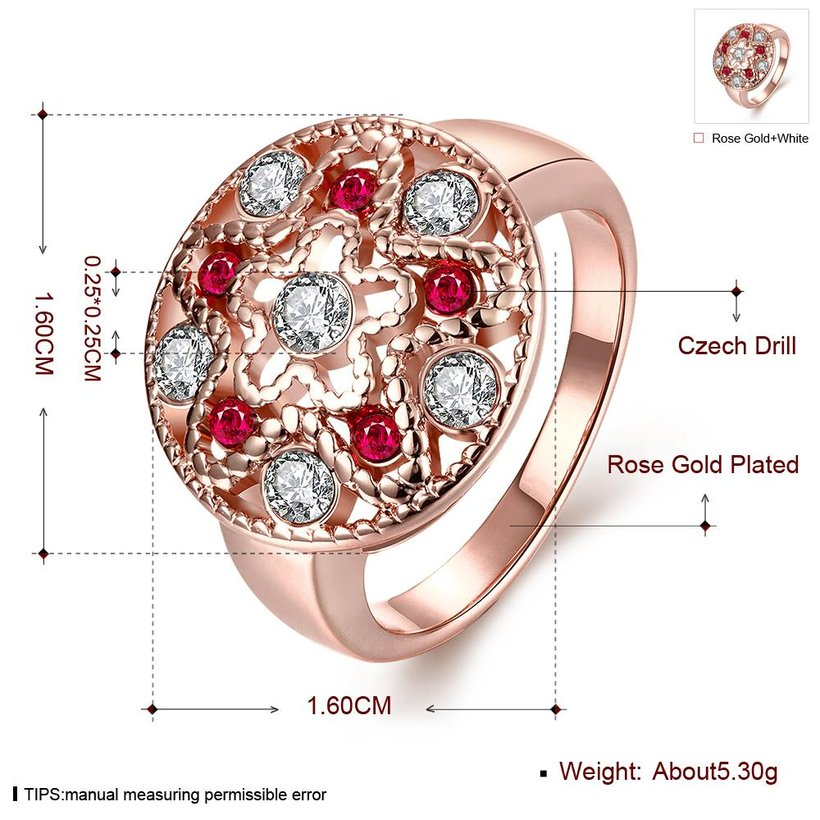 Wholesale Classic Rose Gold Star White Rhinestone Ring TGGPR1200 2