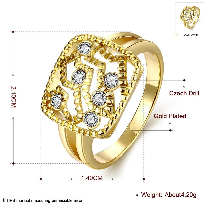Wholesale Classic 24K Gold Geometric White Rhinestone Ring TGGPR1207 0