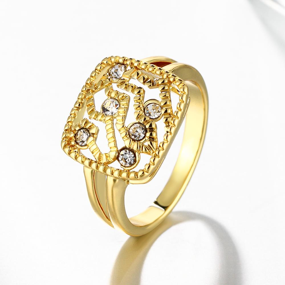Wholesale Classic 24K Gold Geometric White Rhinestone Ring TGGPR1207 2