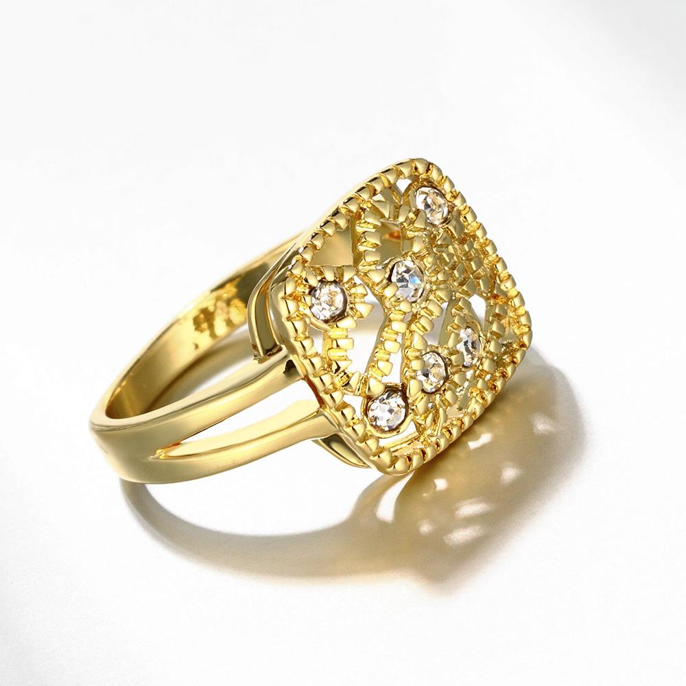 Wholesale Classic 24K Gold Geometric White Rhinestone Ring TGGPR1207 3