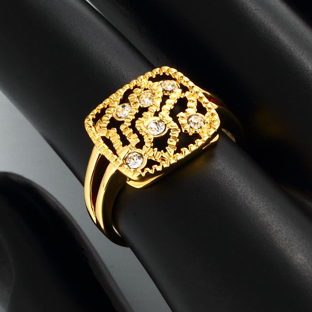 Wholesale Classic 24K Gold Geometric White Rhinestone Ring TGGPR1207 4