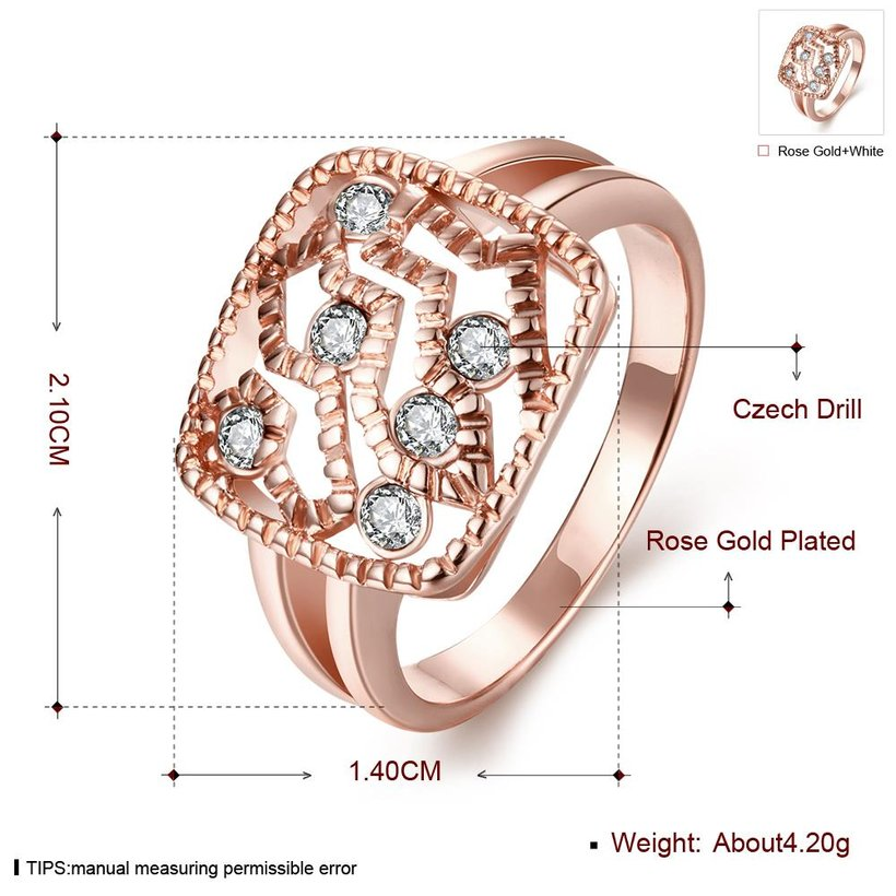 Wholesale Classic Rose Gold Geometric White Rhinestone Ring TGGPR1214 0