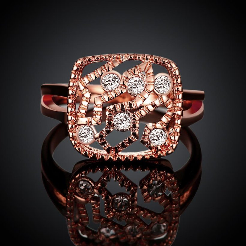 Wholesale Classic Rose Gold Geometric White Rhinestone Ring TGGPR1214 1