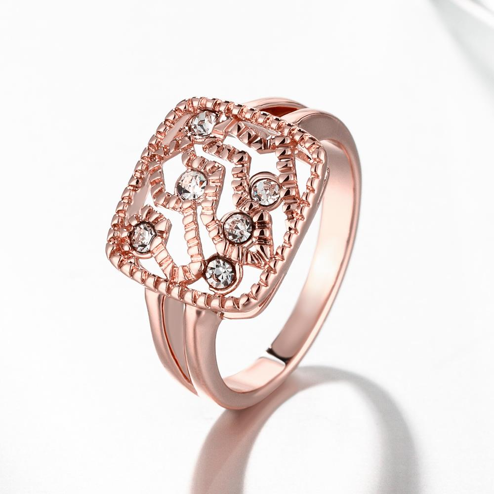 Wholesale Classic Rose Gold Geometric White Rhinestone Ring TGGPR1214 2