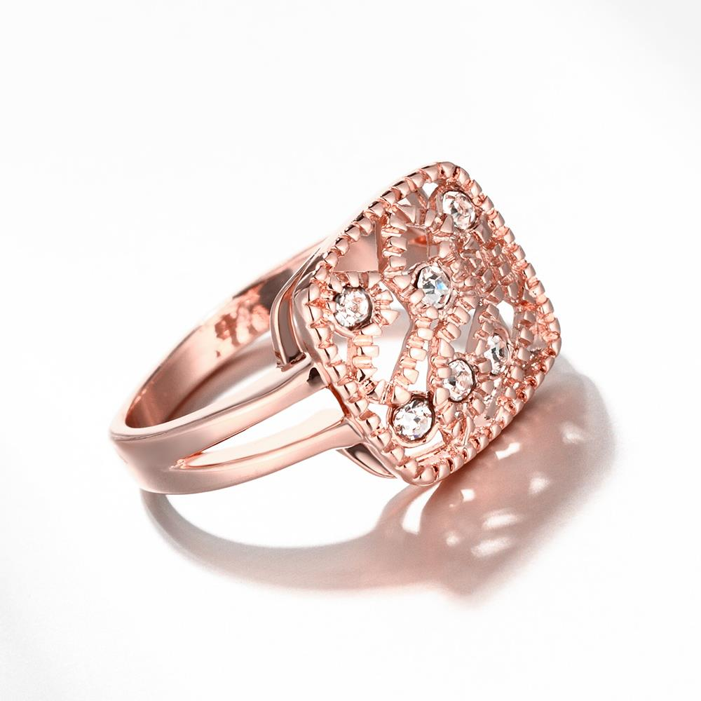 Wholesale Classic Rose Gold Geometric White Rhinestone Ring TGGPR1214 3