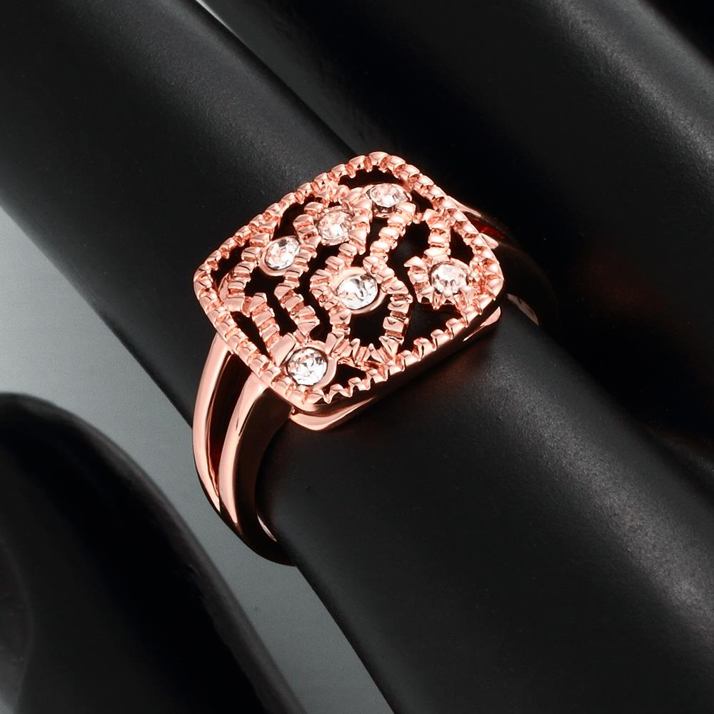 Wholesale Classic Rose Gold Geometric White Rhinestone Ring TGGPR1214 4