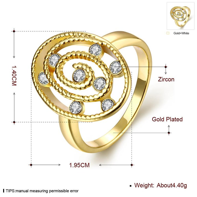 Wholesale Trendy 24K Gold Oval White CZ Ring TGGPR1297 0