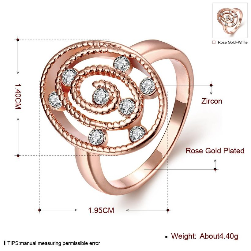 Wholesale Romantic Rose Gold Oval White CZ Ring TGGPR1305 1
