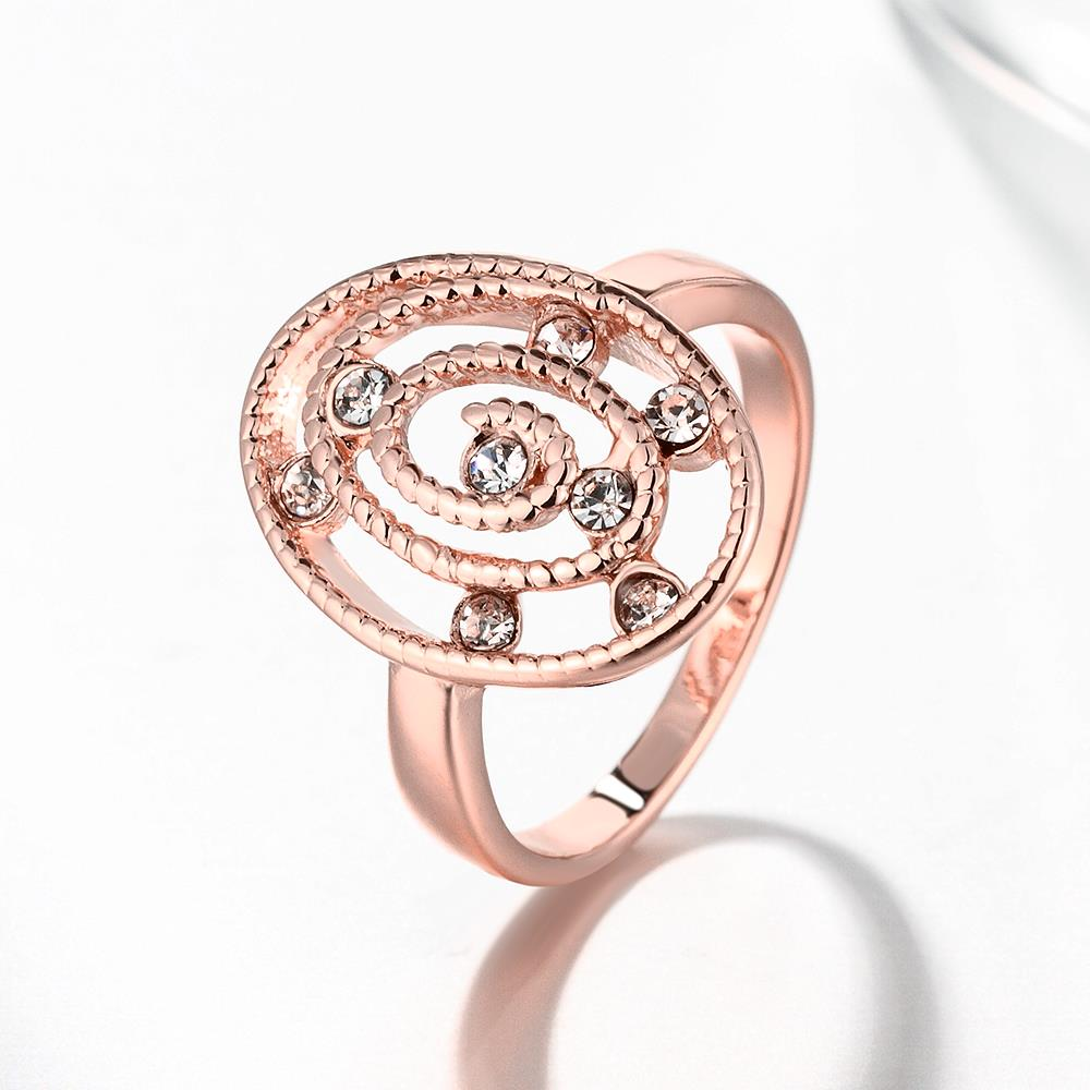 Wholesale Romantic Rose Gold Oval White CZ Ring TGGPR1305 3