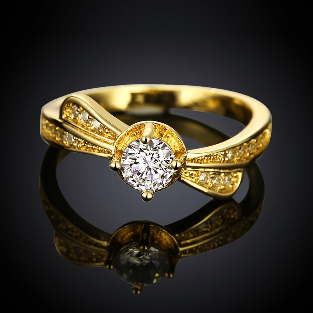 Wholesale Classic 24K Gold Geometric White CZ Ring TGGPR1365 0