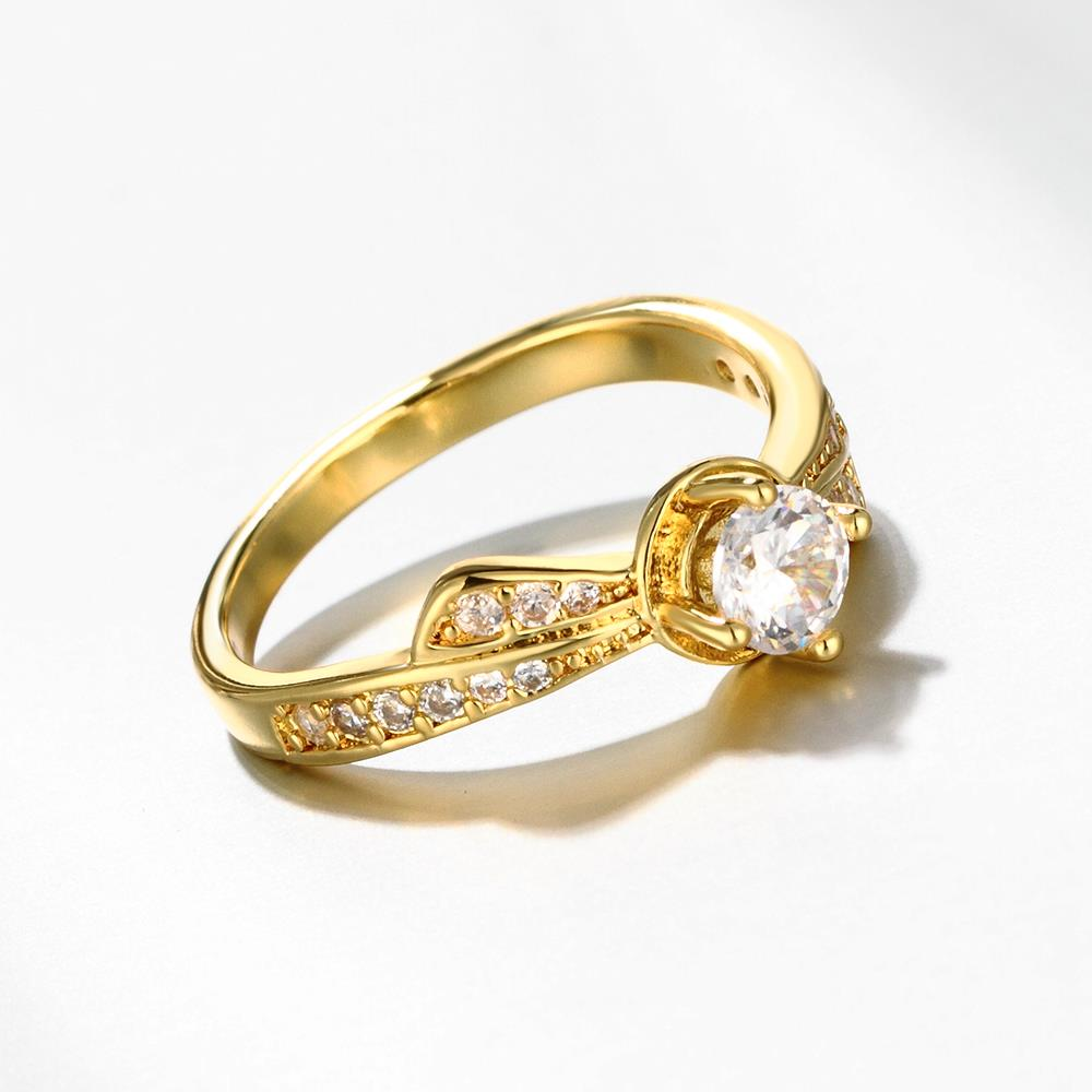 Wholesale Classic 24K Gold Geometric White CZ Ring TGGPR1365 1