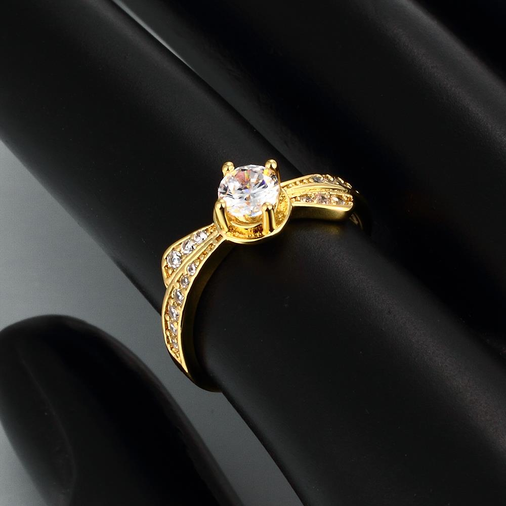 Wholesale Classic 24K Gold Geometric White CZ Ring TGGPR1365 2