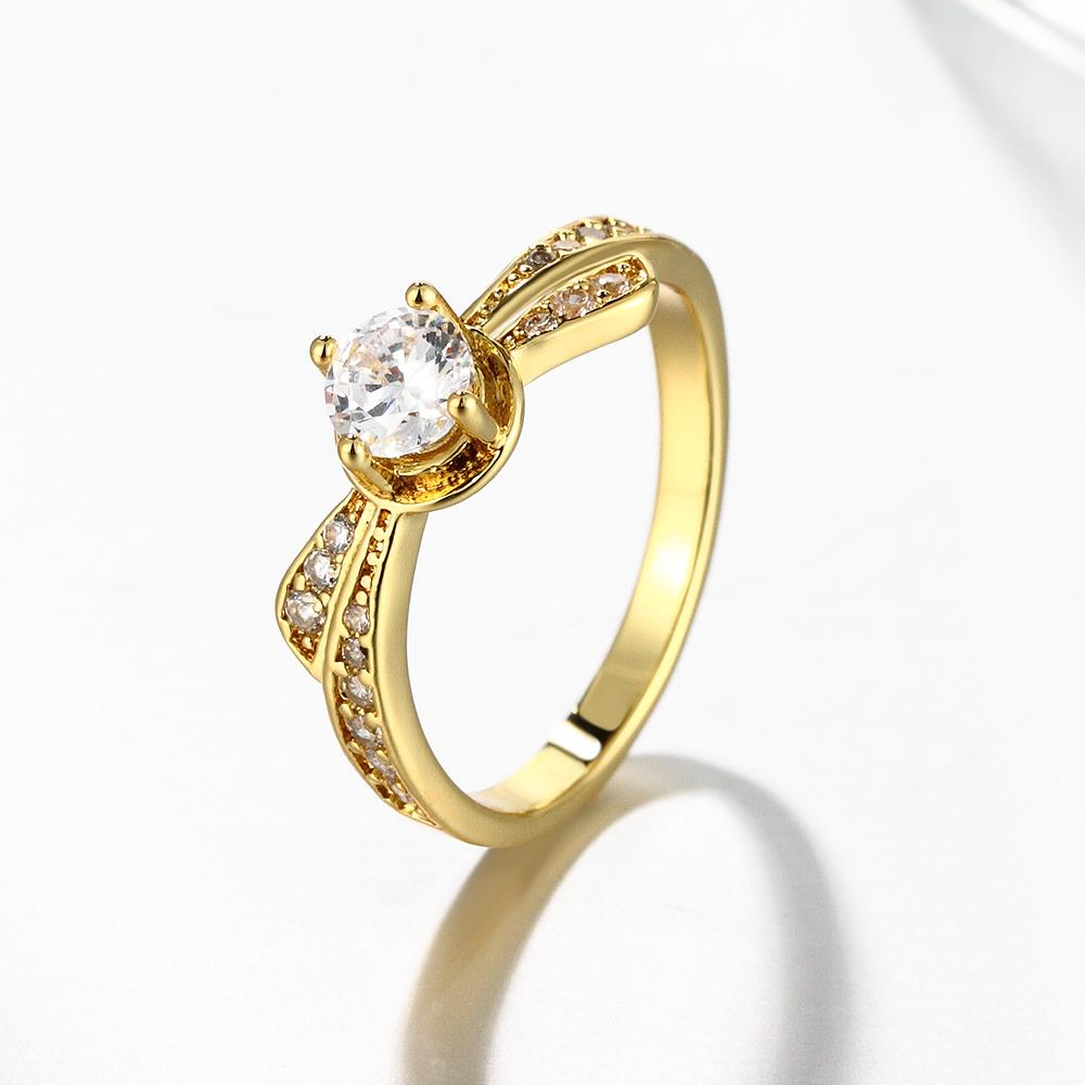 Wholesale Classic 24K Gold Geometric White CZ Ring TGGPR1365 3