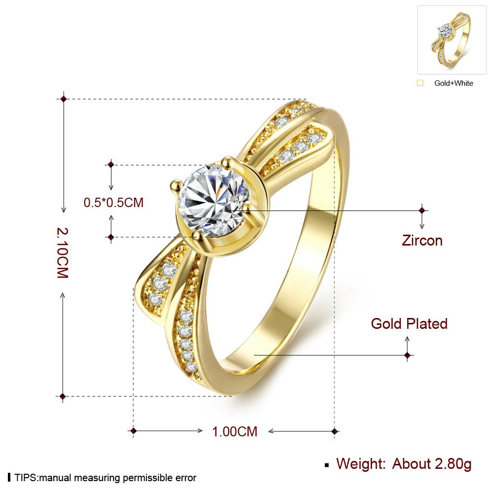 Wholesale Classic 24K Gold Geometric White CZ Ring TGGPR1365 4