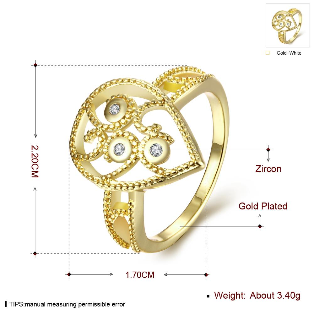 Wholesale Classic 24K Gold Water Drop White CZ Ring TGGPR1380 2
