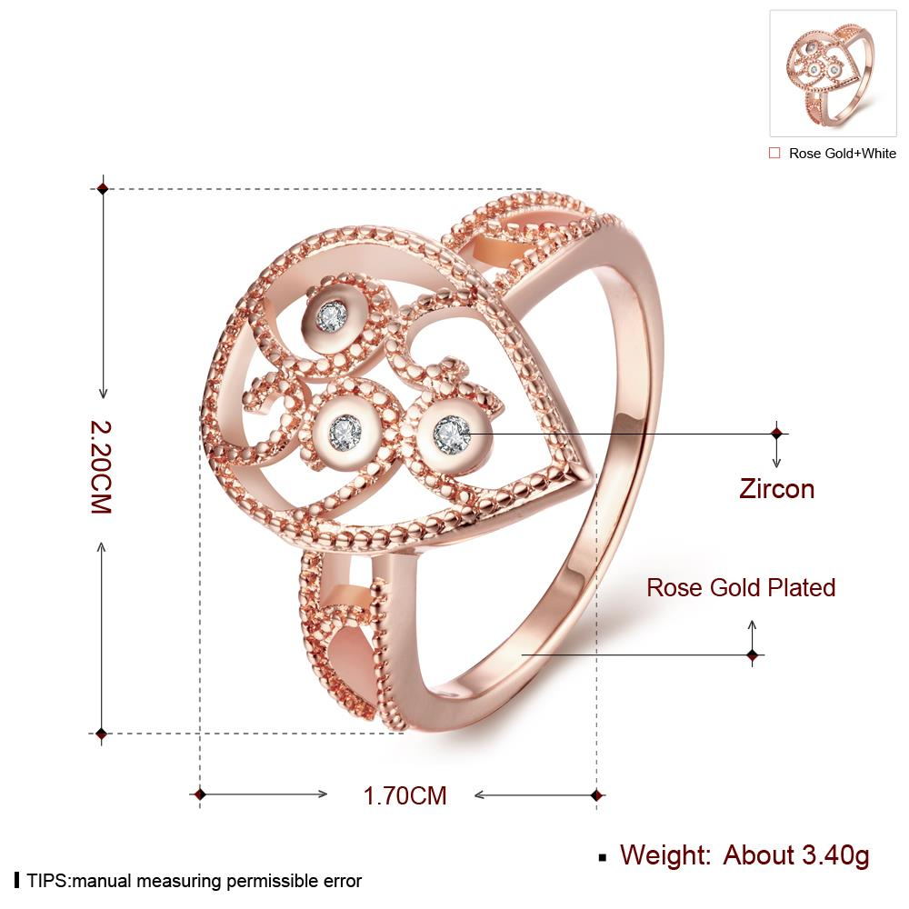 Wholesale Classic Rose Gold Water Drop White CZ Ring TGGPR1384 0