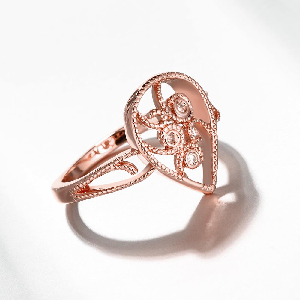 Wholesale Classic Rose Gold Water Drop White CZ Ring TGGPR1384 3