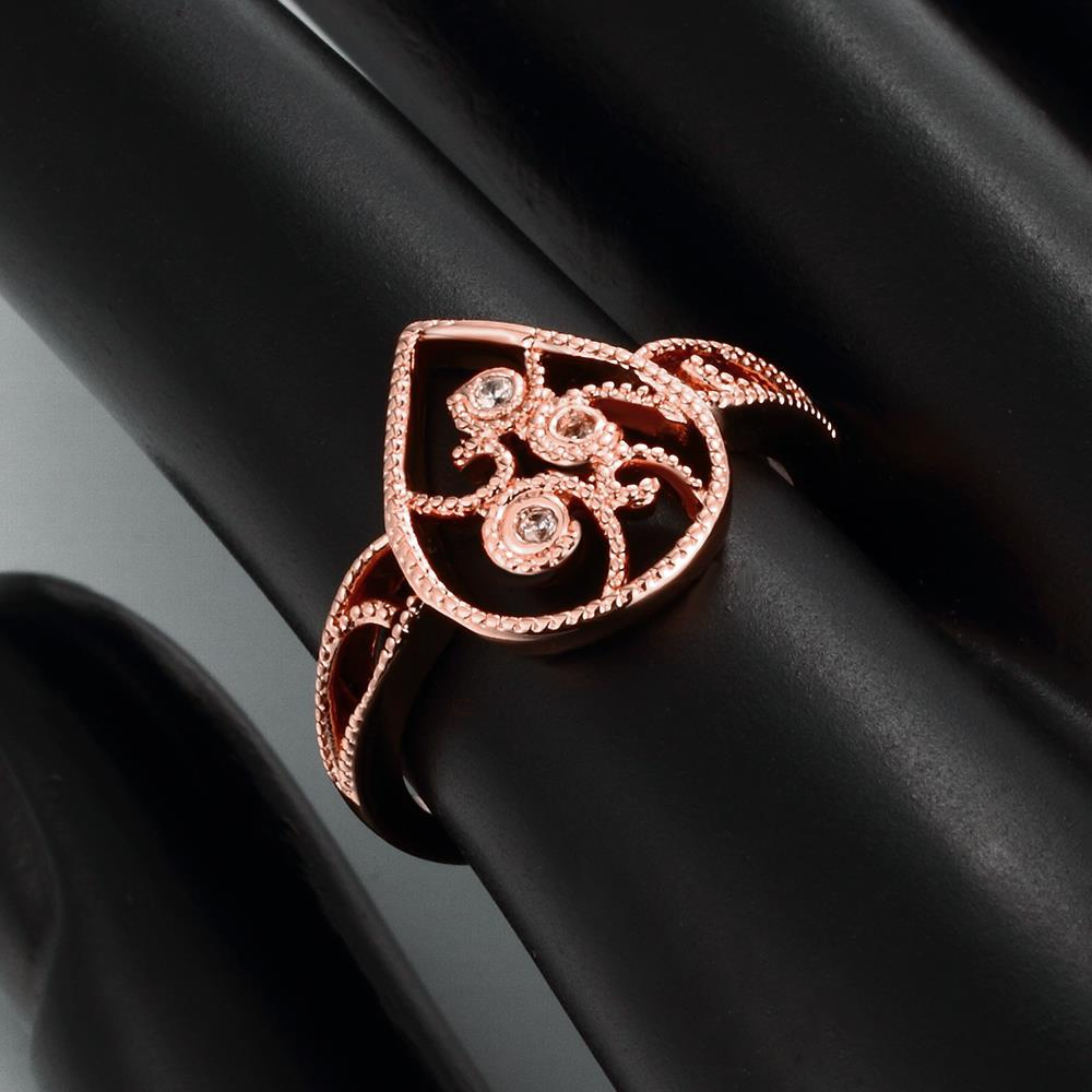 Wholesale Classic Rose Gold Water Drop White CZ Ring TGGPR1384 4