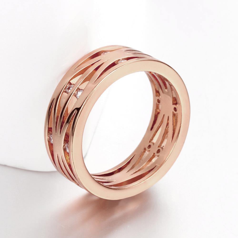 Wholesale Classic Rose Gold Round White CZ Ring TGGPR1394 0