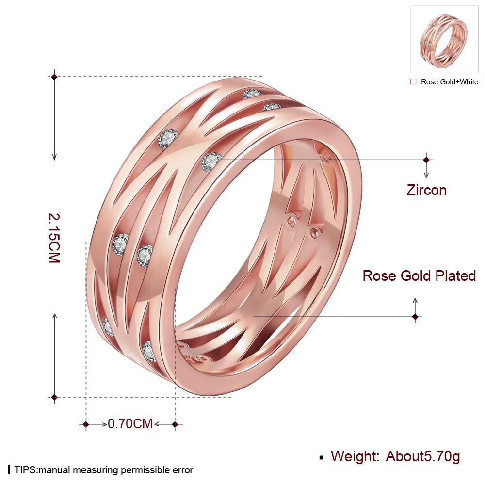 Wholesale Classic Rose Gold Round White CZ Ring TGGPR1394 1