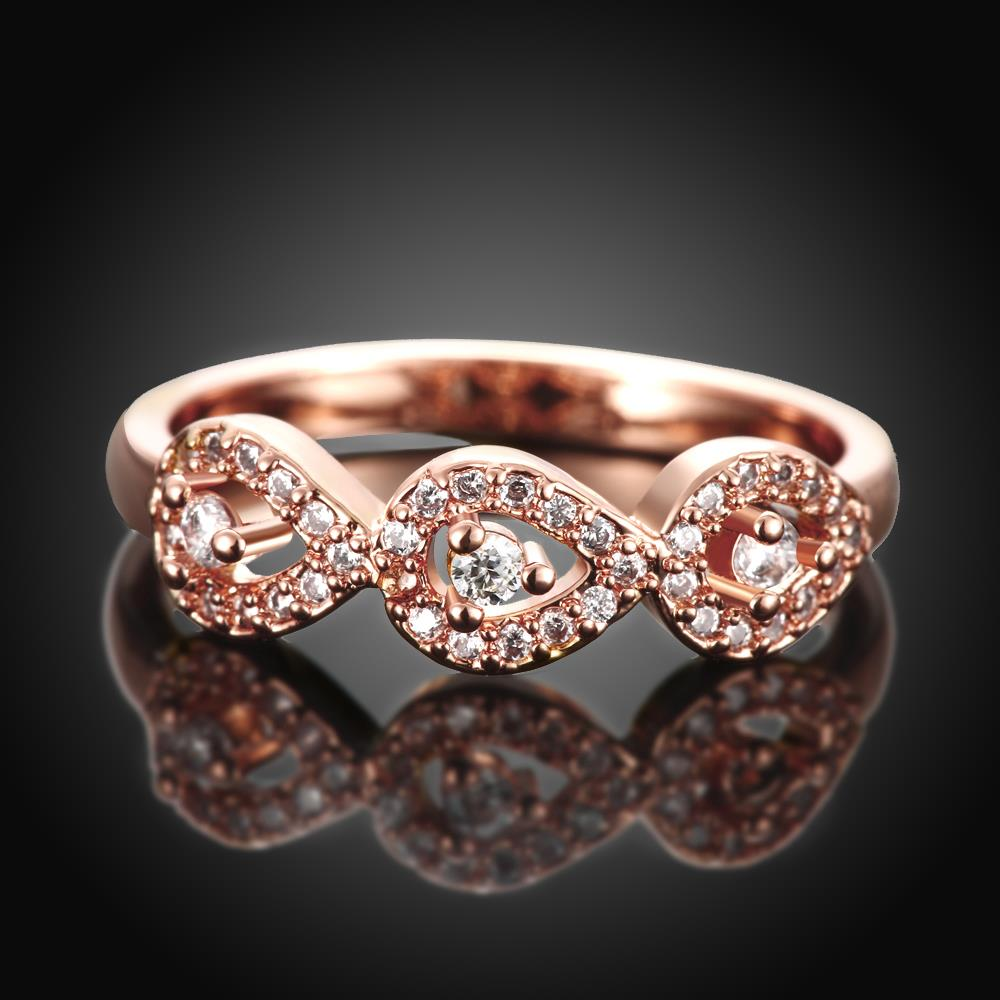 Wholesale Classic Rose Gold Plant White CZ Ring TGGPR1437 1
