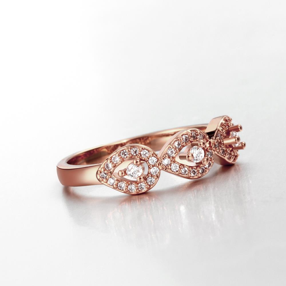Wholesale Classic Rose Gold Plant White CZ Ring TGGPR1437 3