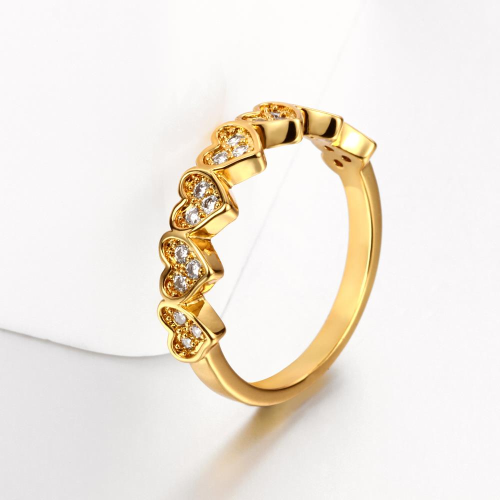 Wholesale Classic 24K Gold Heart White CZ Ring TGGPR1453 1