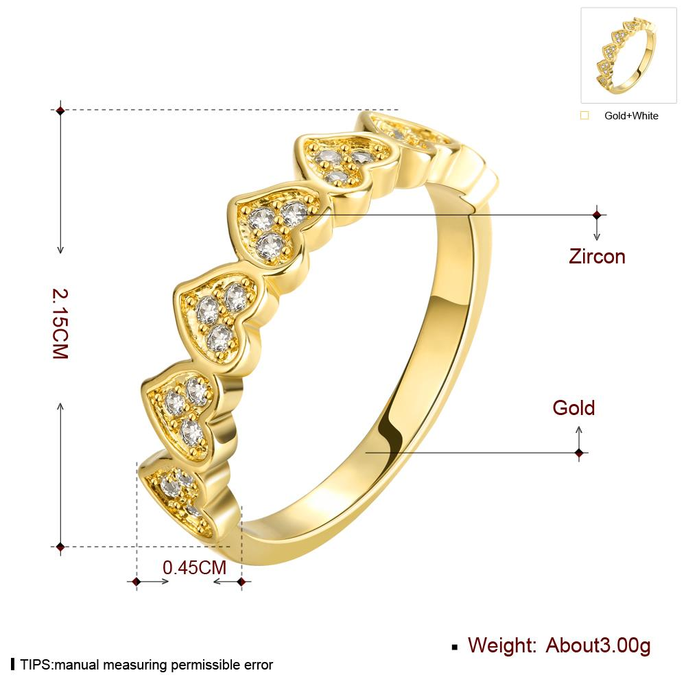 Wholesale Classic 24K Gold Heart White CZ Ring TGGPR1453 2