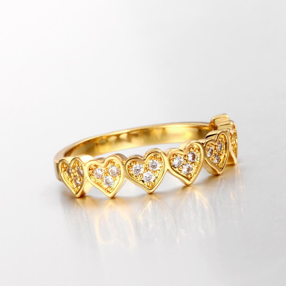 Wholesale Classic 24K Gold Heart White CZ Ring TGGPR1453 4