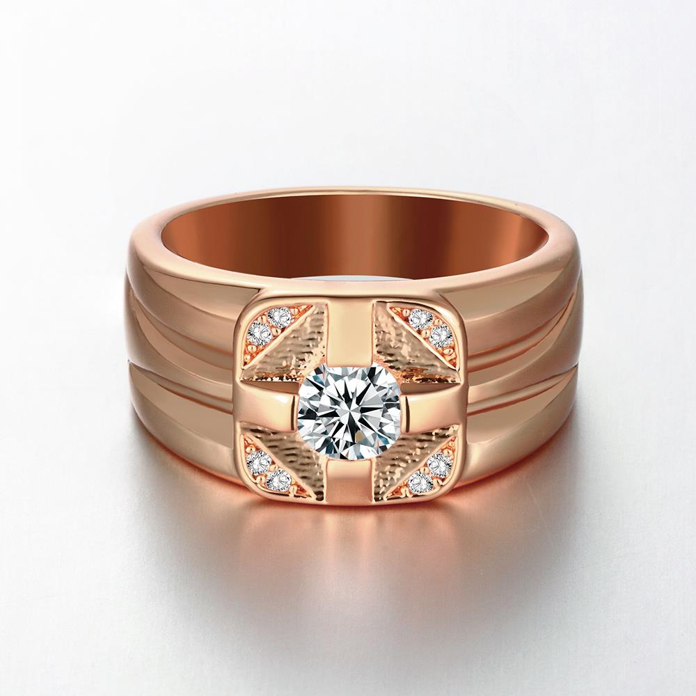 Wholesale Classic Rose Gold Geometric White CZ Ring TGGPR1473 0