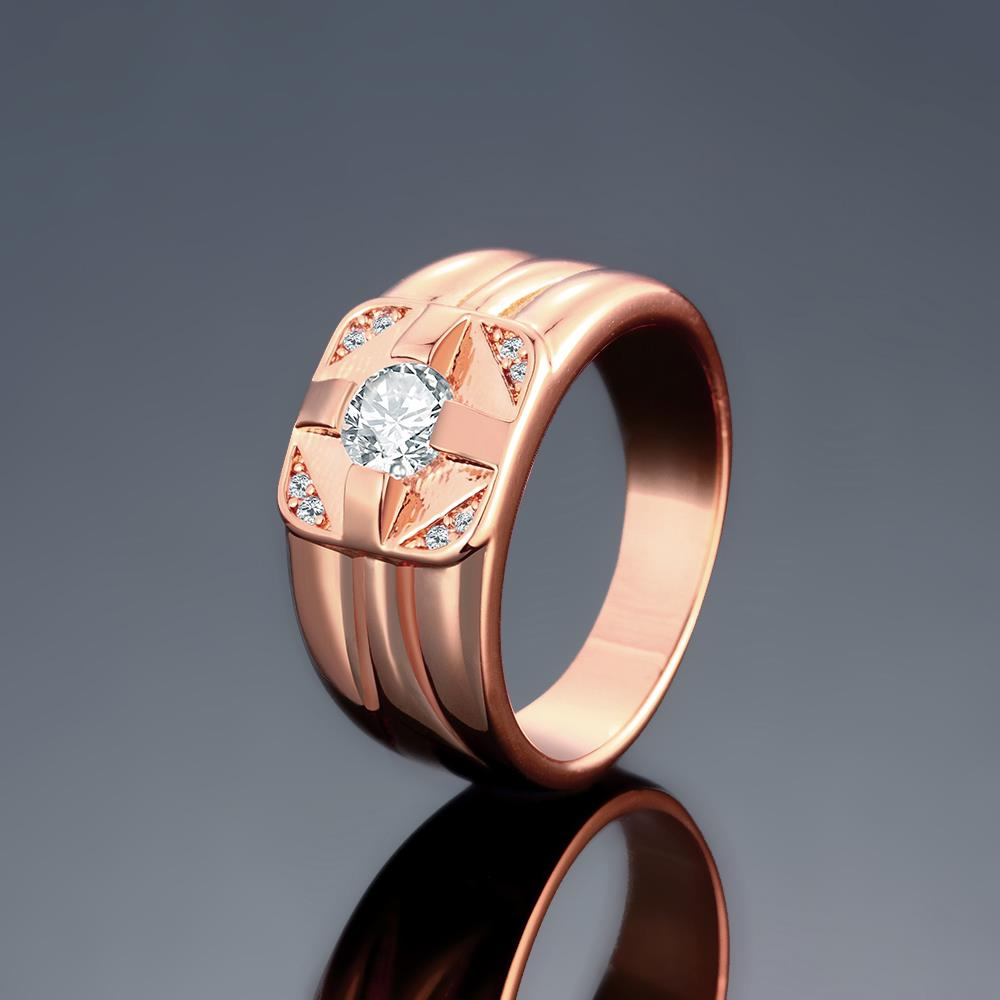 Wholesale Classic Rose Gold Geometric White CZ Ring TGGPR1473 1