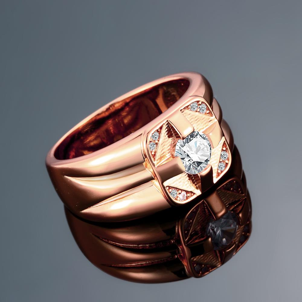 Wholesale Classic Rose Gold Geometric White CZ Ring TGGPR1473 2