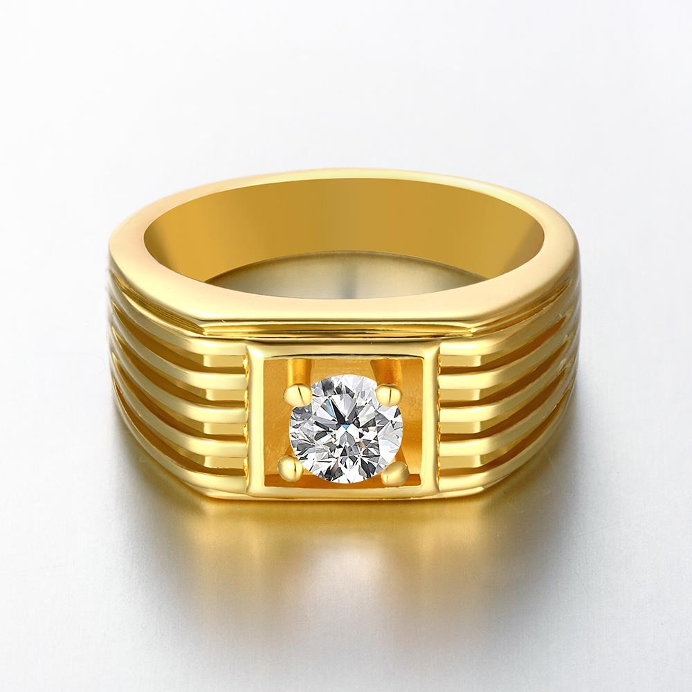 Wholesale Classic 24K Gold Geometric White CZ Ring TGGPR1483 0