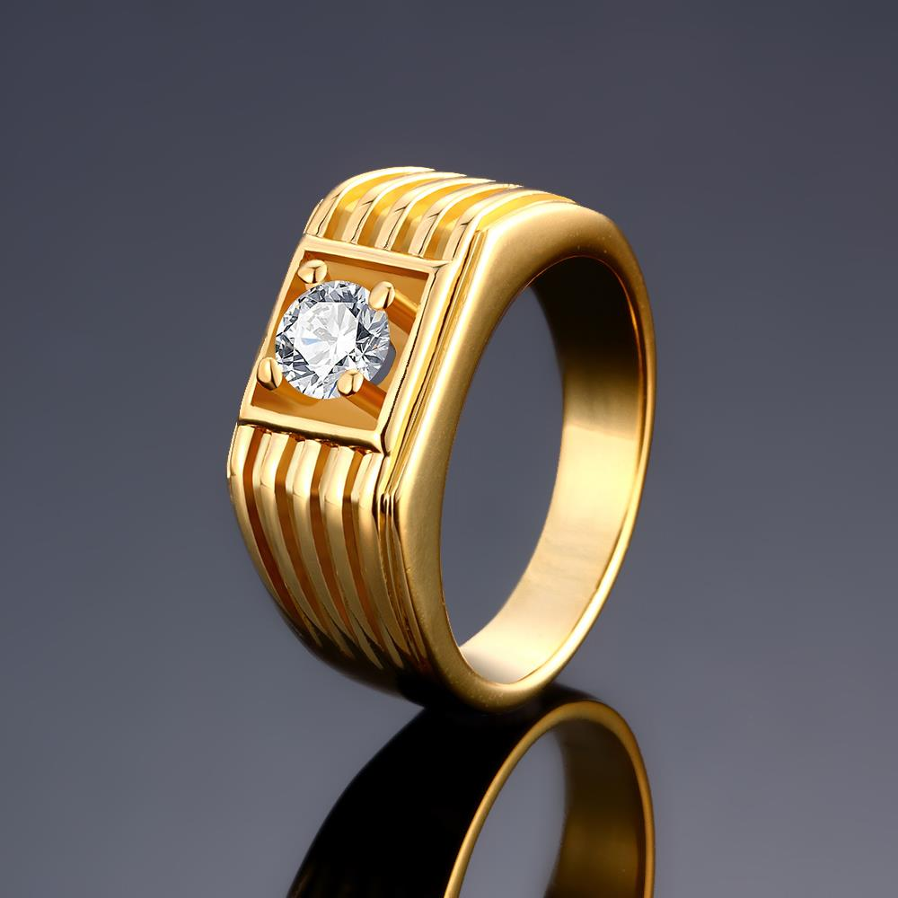 Wholesale Classic 24K Gold Geometric White CZ Ring TGGPR1483 1