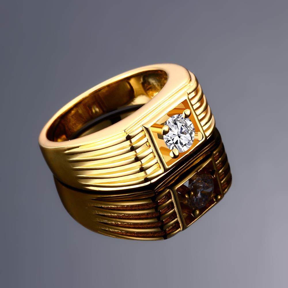Wholesale Classic 24K Gold Geometric White CZ Ring TGGPR1483 2