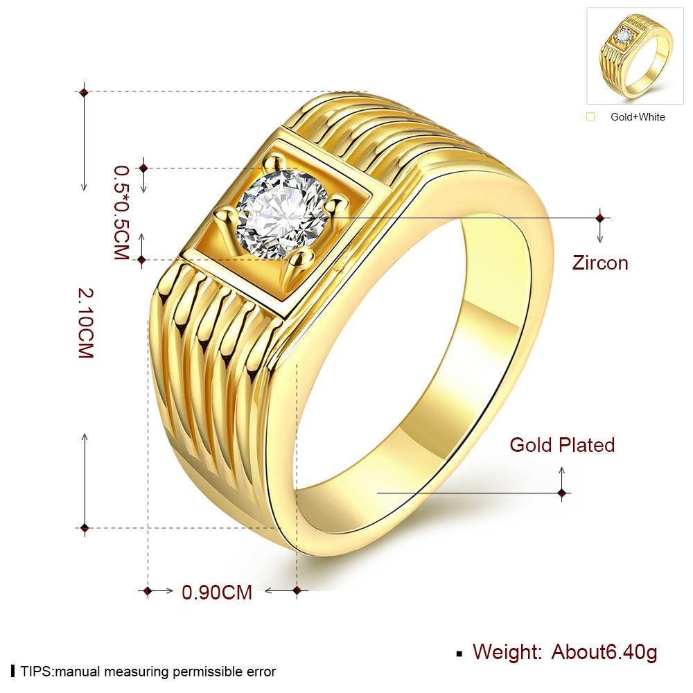 Wholesale Classic 24K Gold Geometric White CZ Ring TGGPR1483 4