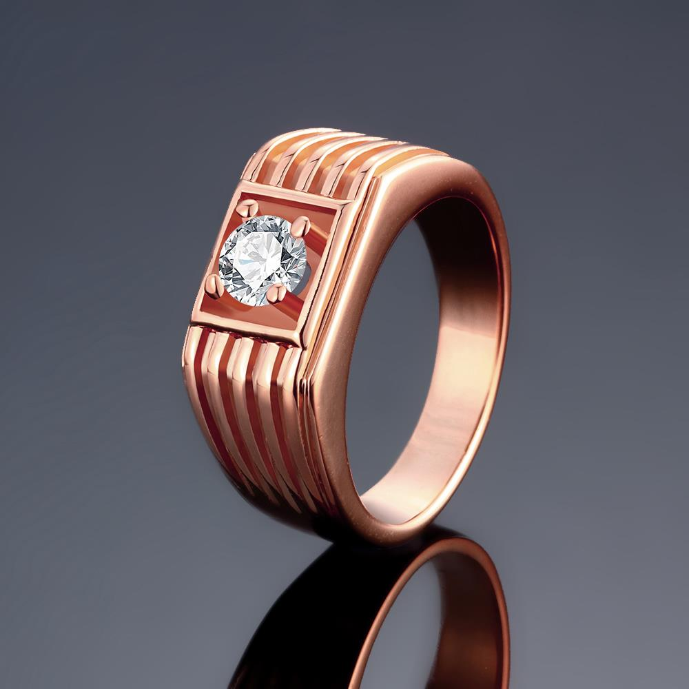 Wholesale Classic Rose Gold Geometric White CZ Ring TGGPR1489 0