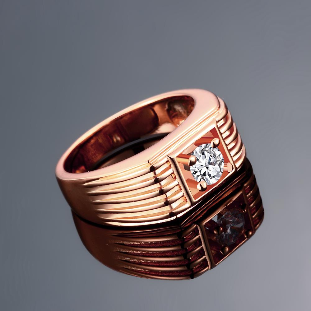 Wholesale Classic Rose Gold Geometric White CZ Ring TGGPR1489 1