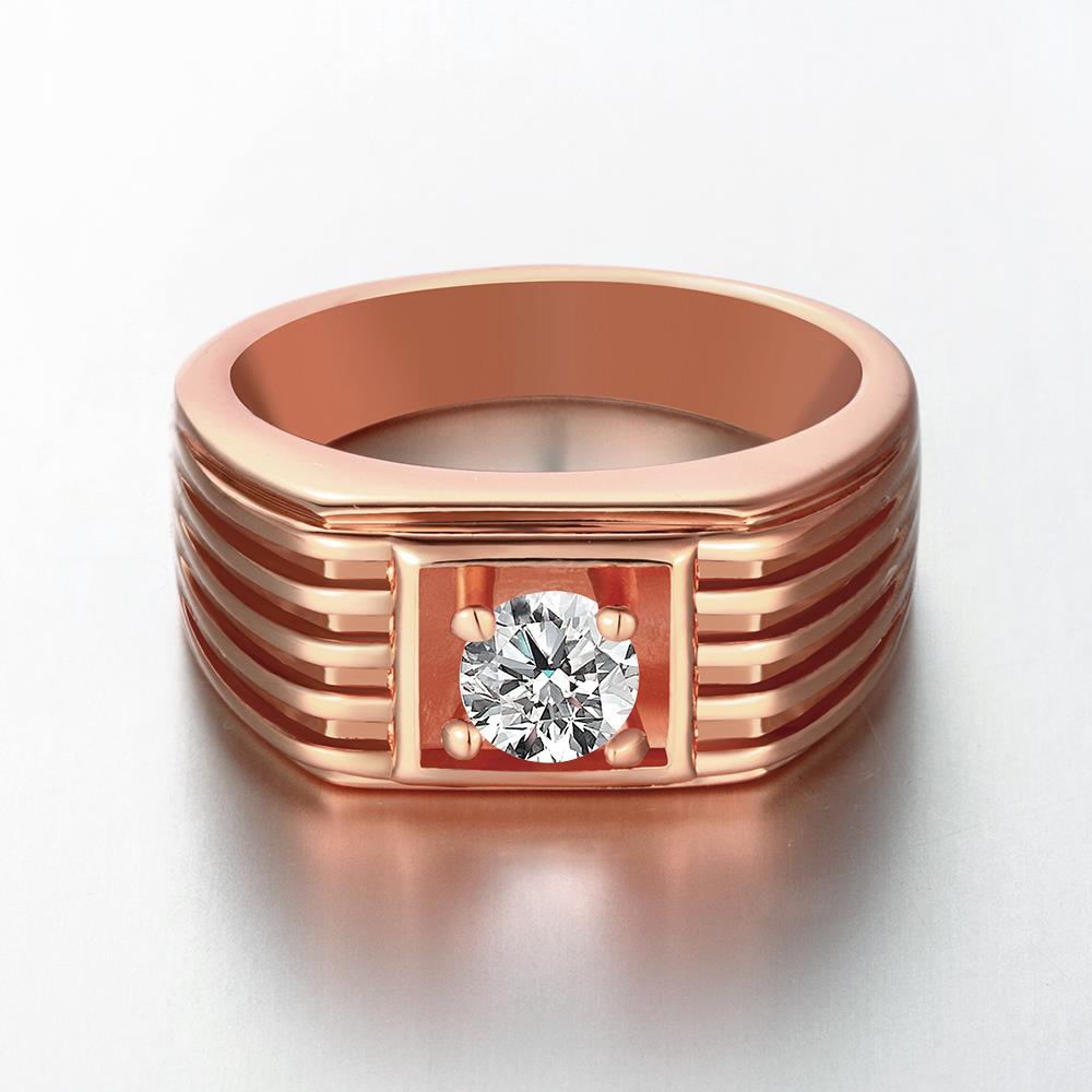 Wholesale Classic Rose Gold Geometric White CZ Ring TGGPR1489 2